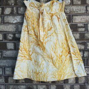 Anthropologie HD in paris yellow strapless dress
